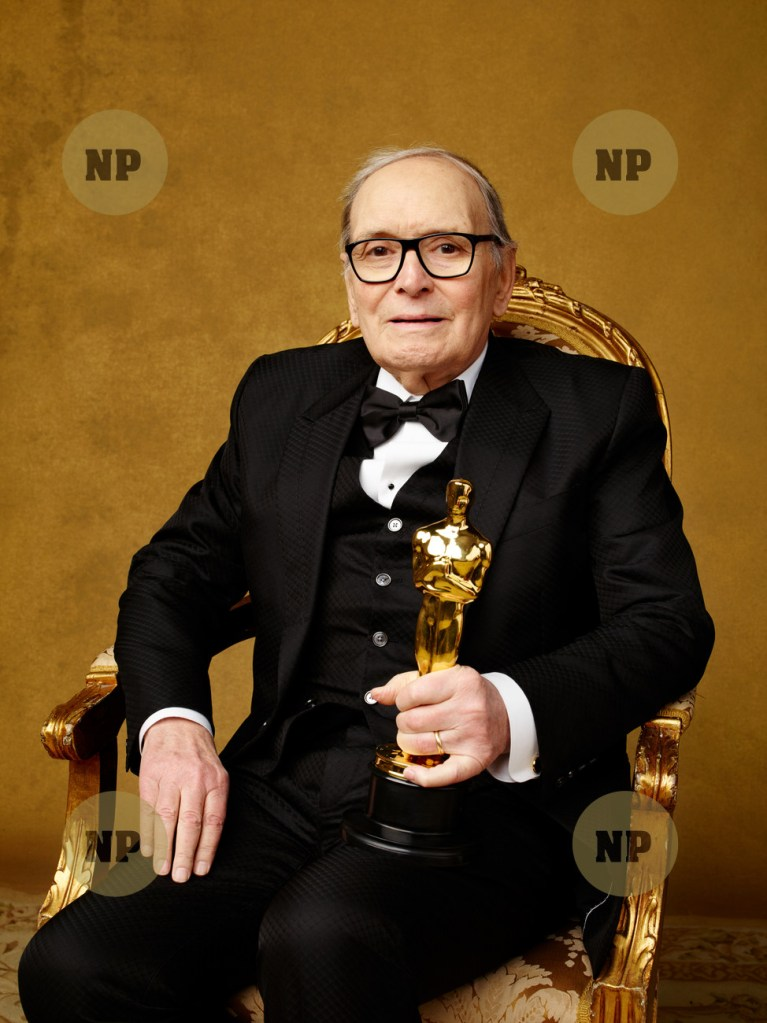 """Music (Original Score) winner Ennio Morricone, """"The Hateful Eight"""" at The 88th Oscars¨ in Hollywood,"""